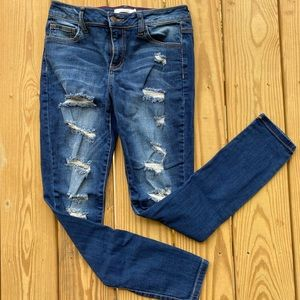 Cello skinny leg distressed blue jeans dark wash